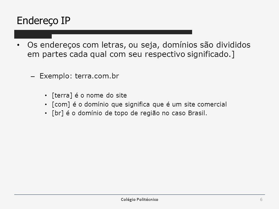 Endereço IP Os endereços com letras, ou seja, domínios são divididos em partes cada qual com seu respectivo significado.]